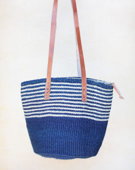 Blue Stripes Handwoven Sisal Bag