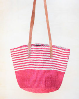 Pink Handwoven Sisal Basket Bag with leather straps