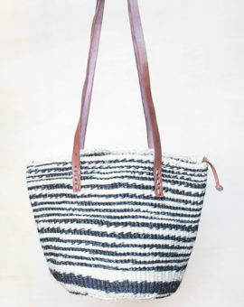 Handwoven Black Sisal Basket Bag
