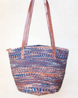 Handwoven Blue Sisal Basket Bag