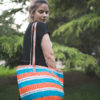 Green and Orange Handwoven Sisal Basket Bag