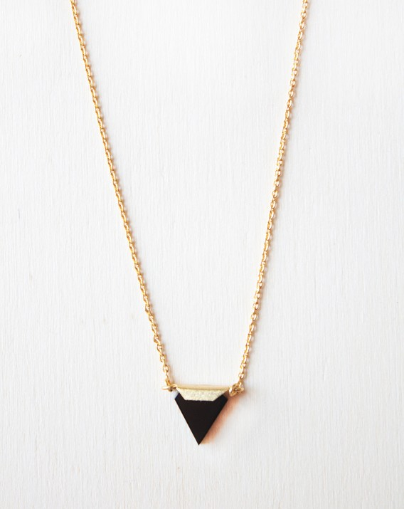 Black onyx tiny triangle Necklace made in gold