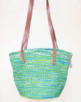 Handwoven Green Sisal Basket Bag