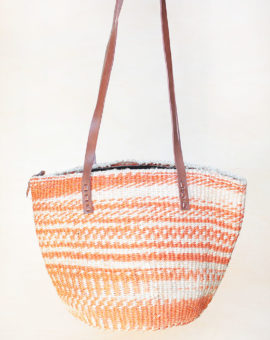 Handwoven Orange Sisal Basket Bag