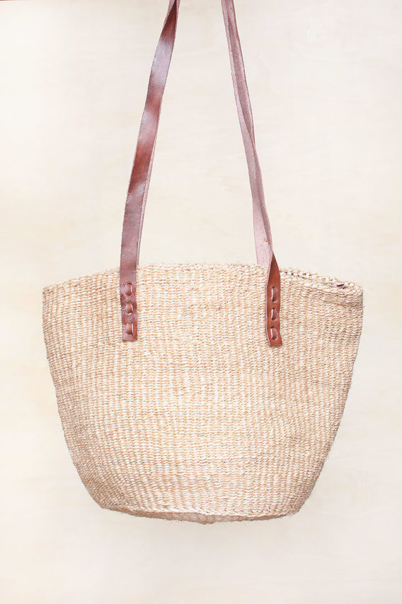 Plain Beige Sisal Bag with leather strap